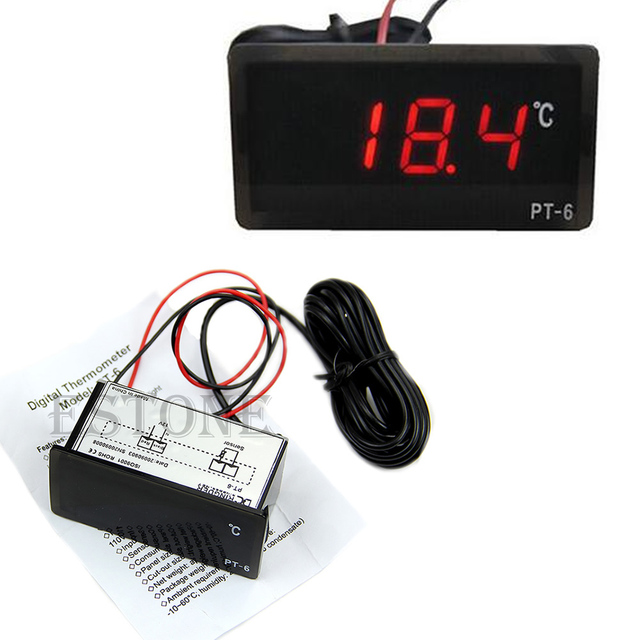 2019 New Vehicle Digital Thermometer Car LED Temperature Meter Probe -40~110C 12V Measurement Analysis Instruments