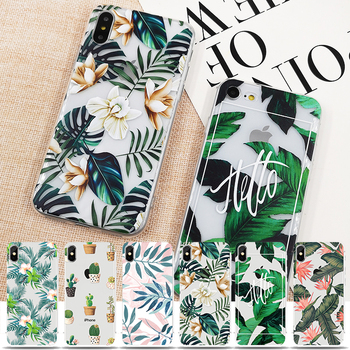 Retro Summer Palm Leaf Case For iPhone X 10 6 6s 7 7plus 8 8plus Soft TPU Silicon Cases Color Leave Print Cover For Apple iPhone iPhone