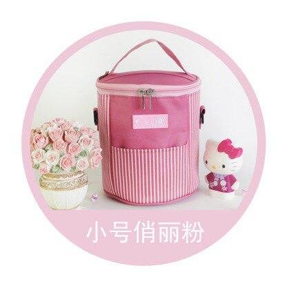 Круглая двойная молния изоляция обеда сумки Сумка Ланч сумка кулер сумка - Цвет: Коричневый