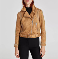 2017Autumn Women Khaki Faux Suede Jacket Ladies Lapel Collar Long Sleeve Zipped Rivet Jacket Vintage Street