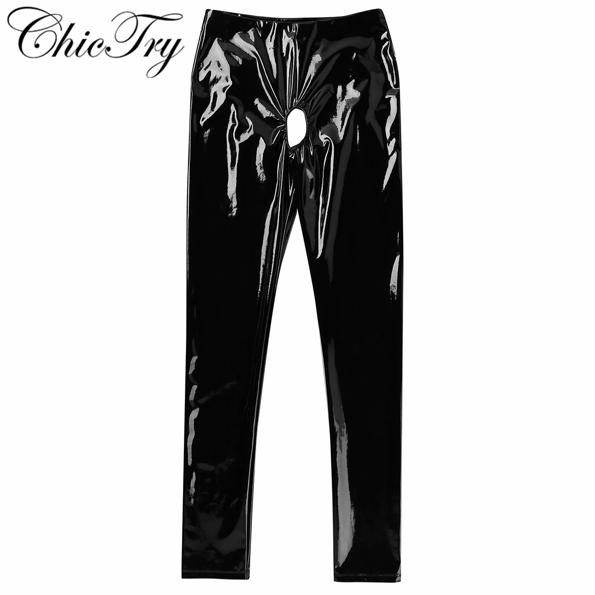 Fashion Women Wet Look Stretchy Pencil Pants Patent Leather Open Crotch And Open Butt Pants Skinny Stretchy Legging Trousers