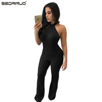 Women New Fashion Rompers And Jumpsuits Women Sexy Backless Sleeveless Playsuit Bodysuits Elegant Knitted Jumpsuits