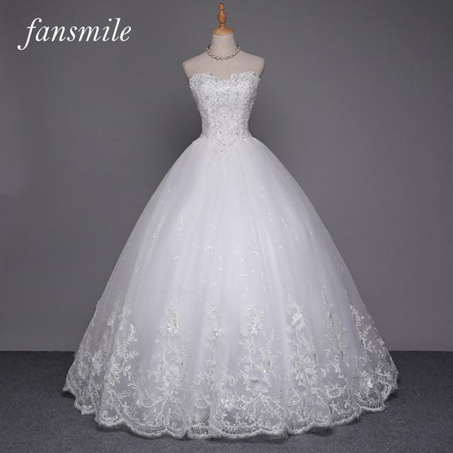 Fansmile сексуальные качества see through кружева бальное платье свадебное платье 2016 свадебные платья novia плюс размер свадебные платья бесплатная доставка