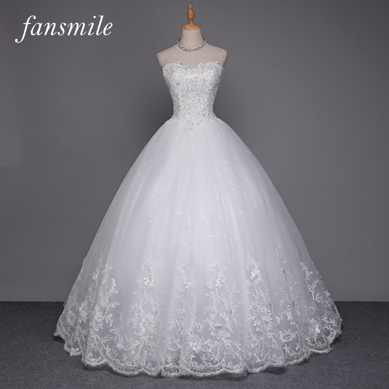 Fansmile sexy quality see through lace ball gown wedding for See through lace wedding dress