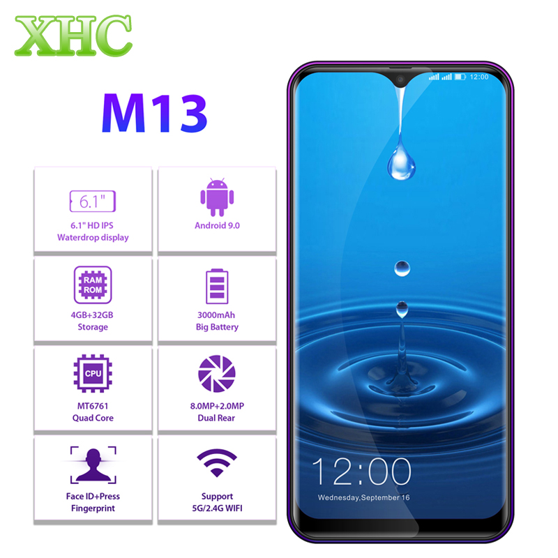 "LEAGOO M13 Android 9.0 6.1"" Waterdrop Smartphone 4GB RAM 32GB ROM MT6761 Quad Core Fingerprint Face ID Dual SIM 4G Mobile Phone"