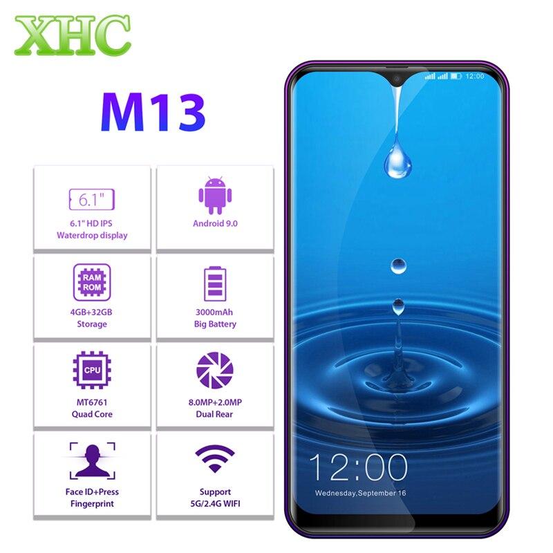 "LEAGOO M13 Android 9.0 6.1"" Waterdrop Smartphone 4GB RAM 32GB ROM MT6761 Quad Core Fingerprint Face ID Dual SIM 4G Mobile Phone"