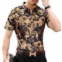 Drago Camicia di Velluto Oro Manica Corta 2018 di Estate Blu di Velluto Camicia Hawaiana Burn Out Trasparente Camicia Maschile Camicia Uomo