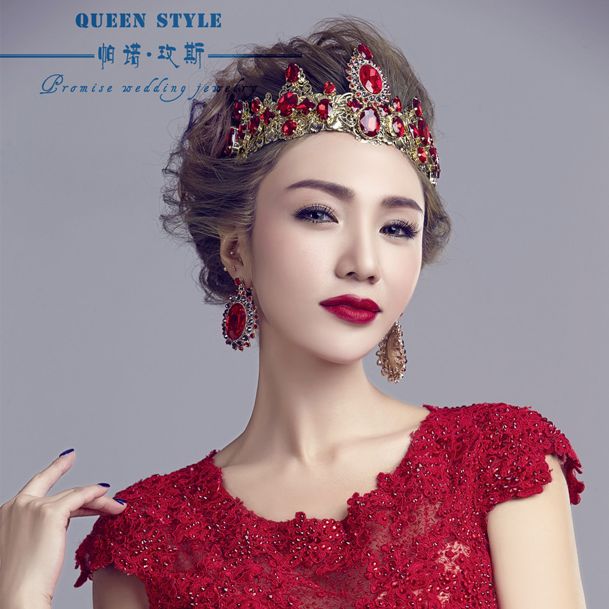 Baroque crown headdress bride jewelry wedding crown red crown studio beauty queen crown