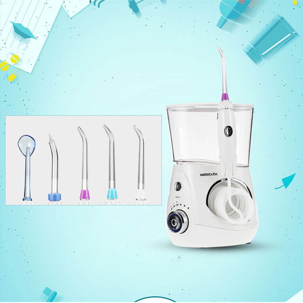 Waterpulse V660 Oral Irrigator Dental Flosser Power Dental Floss Water Jet Oral Care Teeth Cleaner Irrigator With 5 Tip & 700ml oral irrigator faucet water flosser power dental water jet oral care teeth cleaner spa dental irrigator irrigation with 6 tips