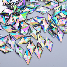 JUNAO 11x18mm AB Crystal Acrylic Rhombus Rhinestones Strass Applique Flatback Gems Non Sewing Stones and for Dress Jewel