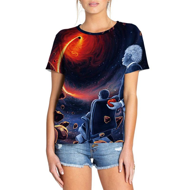 Men Summer T Shirt 3D Black Hole Print Summer Digital Print Casual Short Sleeve O Neck Lover's Women Tops