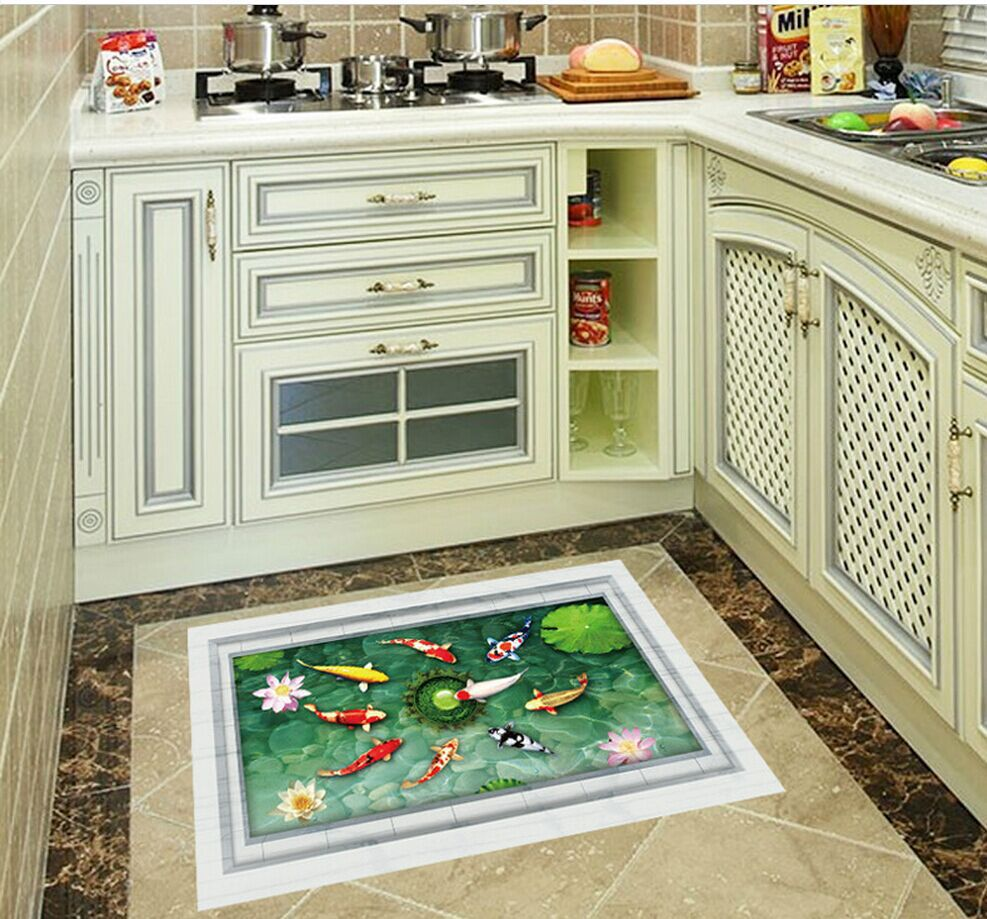 Fish tiles bathroom - Fashion New Elegant Pond Fish 3 D Ground Paste Pvc Bathroom Adornment Wall Rectangle Removavble Water Proof Home Decor Wall Art