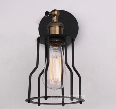 Sample order Art lighting industrial E27 edison wall lamp vintage black iron finished cage lighting fitting for home decoration