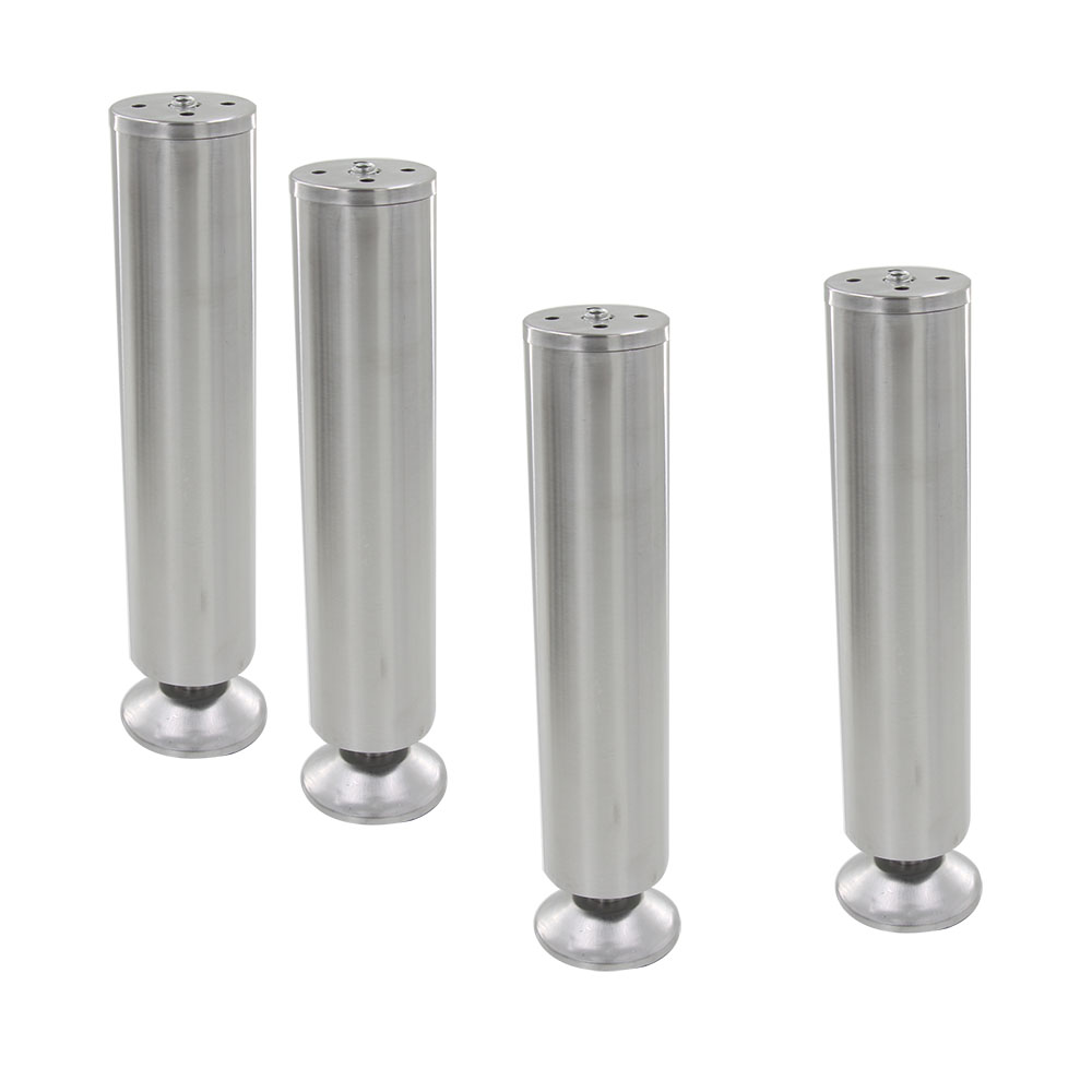 4pcs 250mm Height Adjustable 10 15mm Cabinet Feet Silver Tone Stainless  Steel Table Bed Sofa