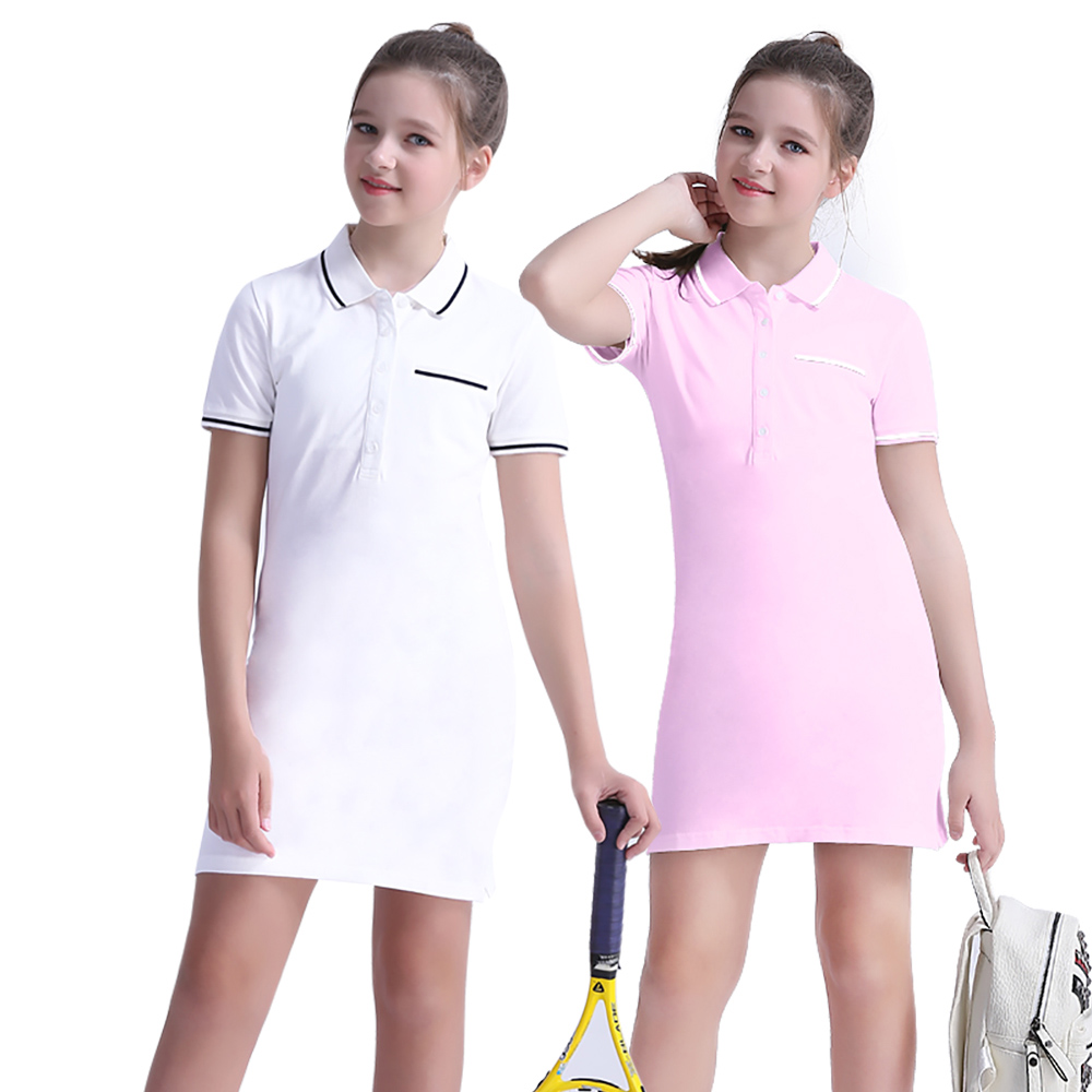 Girls Dress Children Clothing Summer Short Sleeve Classical Simple Turn-down Collar Casual Sport Cotton Dress New Arrival 2018 summer fashion new arrival cotton fabric cartoon printing pattern short sleeves kids girls dress crew neck children s clothing