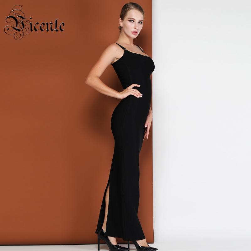 Vicente CHAUDE Chic Maxi Long Slip Robe Sexy Sans Manches En Gros Party Celebrity Wear Bandage Noir Robe