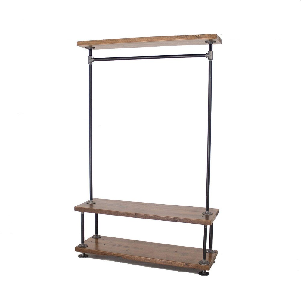 Industrial Clothing Rack Diwhy Industrial Retro Diy Pipe Clothing Rack Two Bottom Tiers Pine Wood Shelving Coat Hangers Clothing Rack