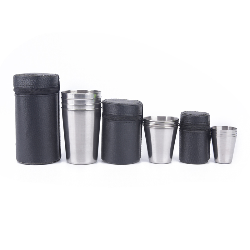 Camping Cup Mug Drinking Coffee Tea Beer With Case Ideal For Camping Holiday Picnic 1 Set Of 4 Stainless Steel Cover Mug Camping & Hiking Outdoor Tablewares