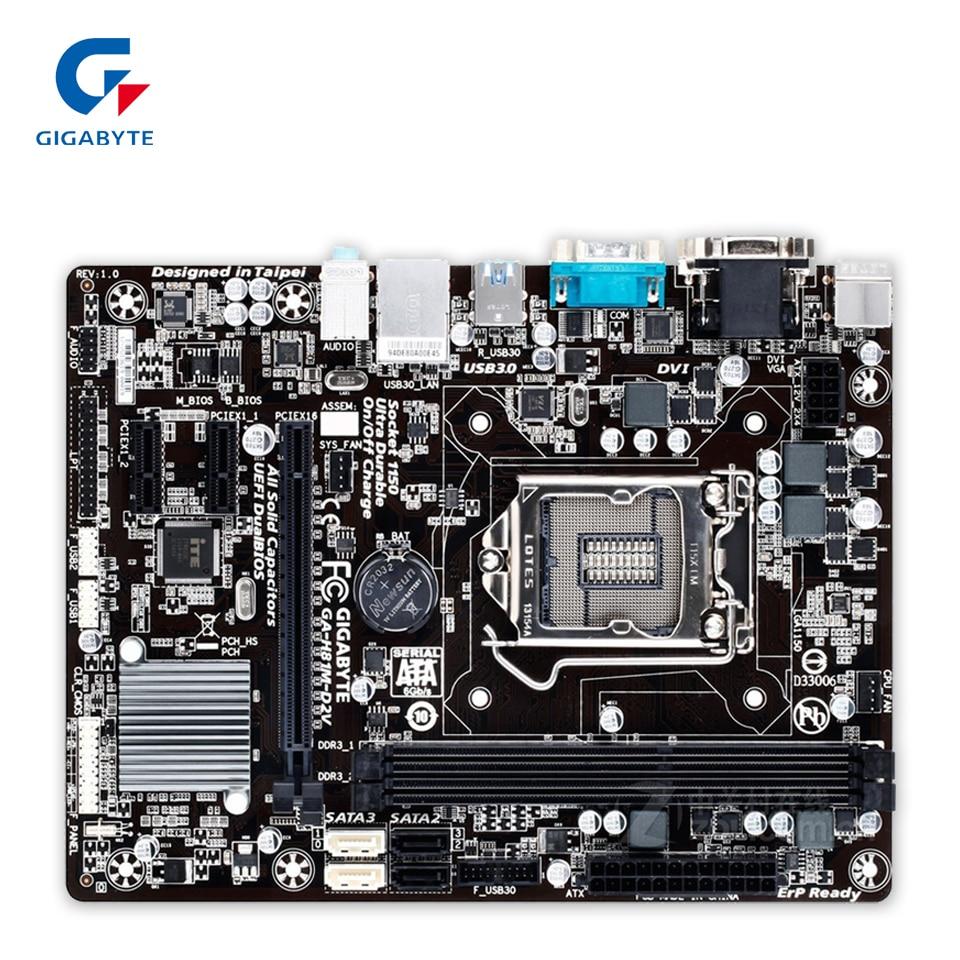 Gigabyte GA-H81M-D2V Original Used Desktop Motherboard H81M-D2V H81 LGA 1150 i3 i5 i7 DDR3 16G SATA3 Micro-ATX asus original ga h81m hd3 motherboard h81 ddr3