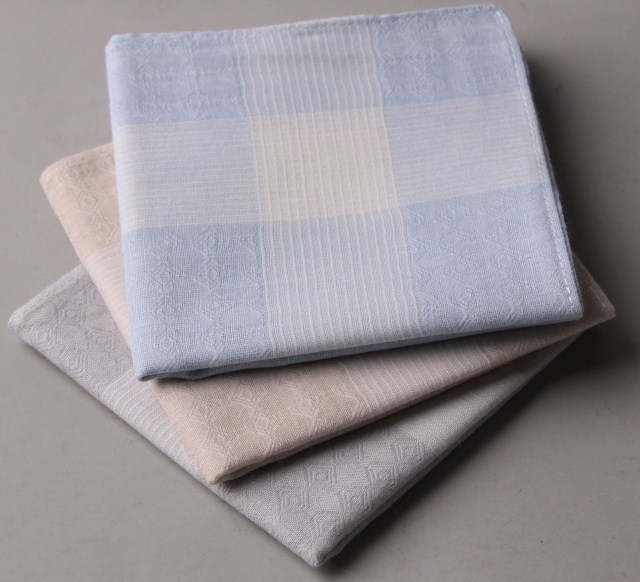 Fashion 100% cotton dobby male handkerchief