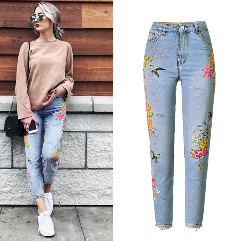 2019 Jeans High Waist Women Jeans Flower Embroidery Autumn Ripped Jeans For Women Denim Pants Pantalon Femme