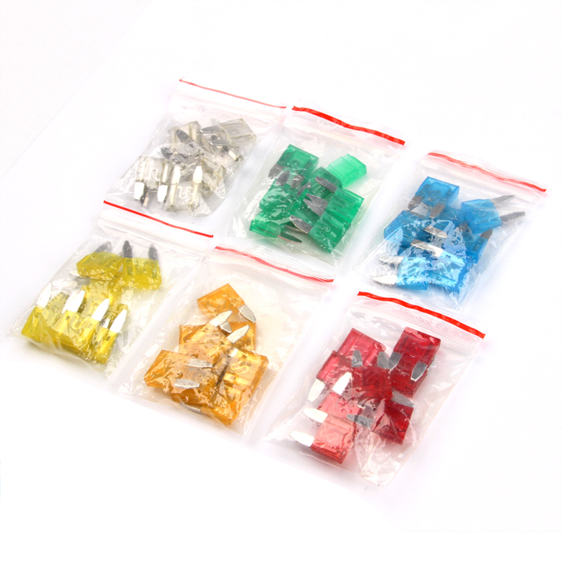 60PCS 5A/10A/15A/20A/25/30A Small Car Fuses Set Mixed Mini Standard Blade Fuse for Auto Truck Automotive Boat Accessories standard 120pcs set auto automotive car boat truck blade fuse box assortment 5a 10a 15a 20a 25a 30a power tool accessories
