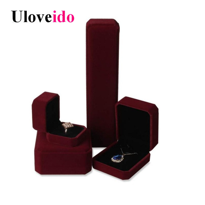 Uloveido jewelry Display Ring & Earrings Pendant Gift Box Casket for Decorations Jewelry Boxes Jewellery Velvet Box Gift Wrap