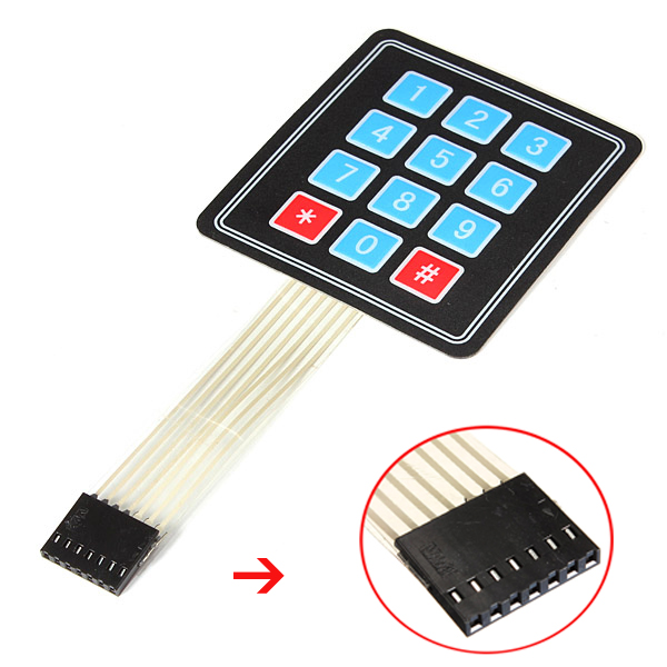 <font><b>4</b></font> <font><b>x</b></font> <font><b>3</b></font> Matrix <font><b>12</b></font> Key Array Membrane Switch Keypad Keyboard For DIY