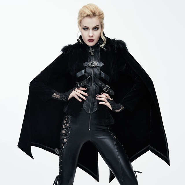 Devil Fashion Steampunk Personality Jackets for Ladies Gothic 2017 Autumn Winter Halloween Bat Style Cloak Coats with Fur Shawl
