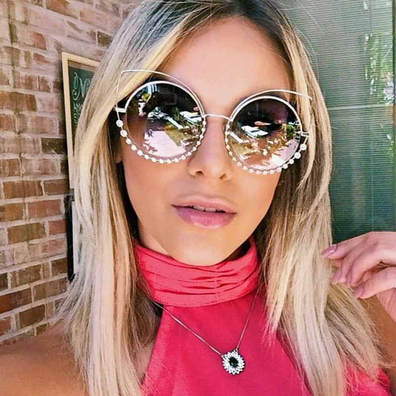OUTEYE Diamond Cat Eye Sunglasses Women Round Mirror Sun Glasses Rhinestone Oversized Reflective Eyewear lunette de soleil femme 1