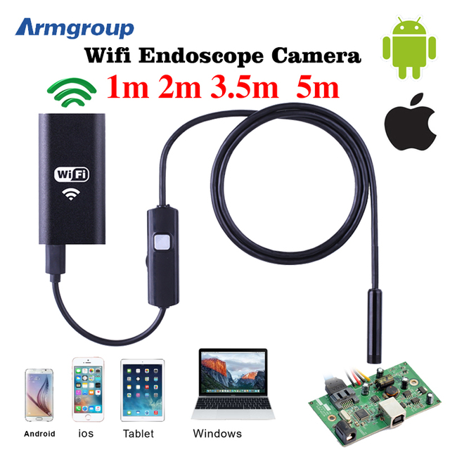 8mm lente wifi android iphone cámara endoscopio 1 m 2 m 3.5 m 5 m tubo impermeable de la serpiente pipe 720 p iphone cámara del endoscopio del animascopio