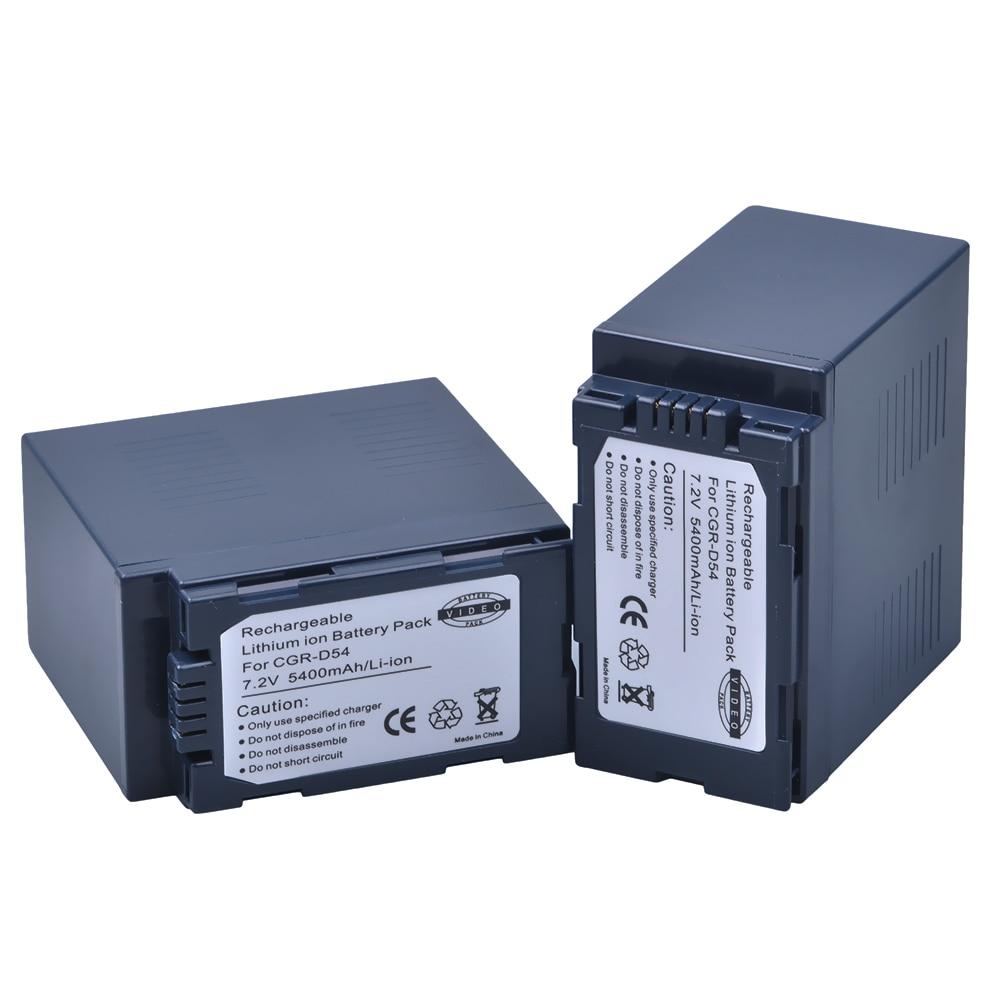 2Pc 5400mAh CGA D54 CGA D54 D54S Camera Battery for Panasonic CGA D54 Panasonic AG AC8PJ AG AC90A AG HPX250 HC X1000 AG HPX255