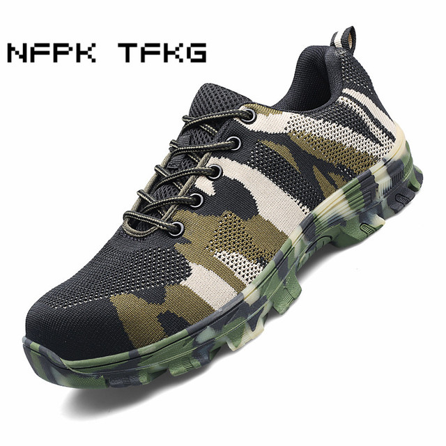big size men leisure building site worker dress steel toe covers work safety shoes anti-pierce outdoor security protection boots