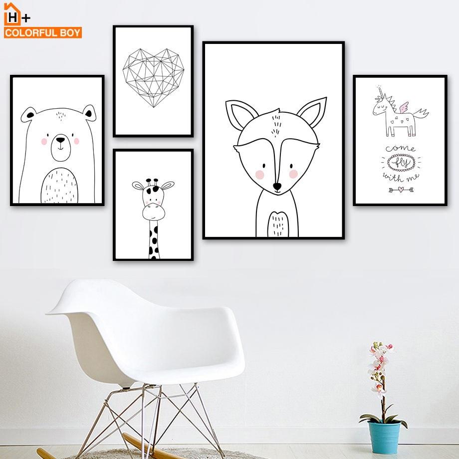 COLORFULBOY Fox Bear Jirafa Unicorn Heart Quotes Wall Art Print - Decoración del hogar