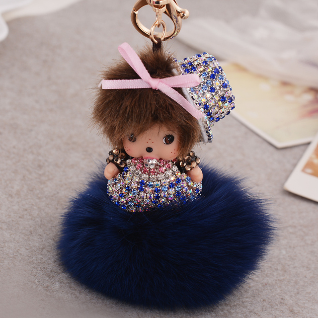 llaveros car Monchichi Keychain Doll Inlay Rhinestone Rabbit fur ball pom pom Key chain Women bag Accessories Charm porte clef