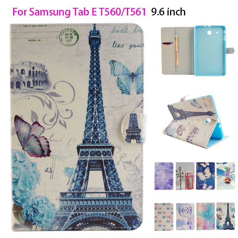 For Samsung Galaxy Tab E 9.6 T560 Case Fashion PU Leather Flip Silicon sFor Samsung Galaxy Tab E T560 SM-T561 Tablet Cover Case fashion cartoon flip pu leather sfor samsung galaxy tab e 9 6 case for samsung galaxy tab e t560 sm t560 t561 smart cover cases