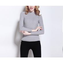 Winter Sweater Women Pullover Knitted Woman Sweater Female Long Sleeve Casual Turtleneck Grey Black White Solid Sweater(China)
