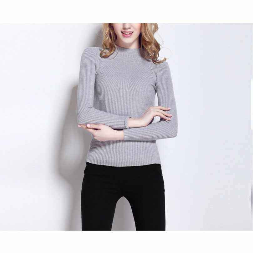 Winter Sweater Women Pullover Knitted Woman Sweater Female Long Sleeve Casual Turtleneck Grey Black White Solid Sweater
