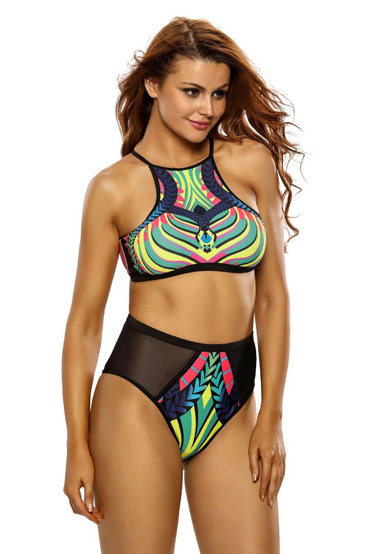 Sexy Women Egyptian Digital Print Mesh Cutout 2pcs Tankinis Swimsuit Bikini Swimwear Beachwear Bathingsuit Summer