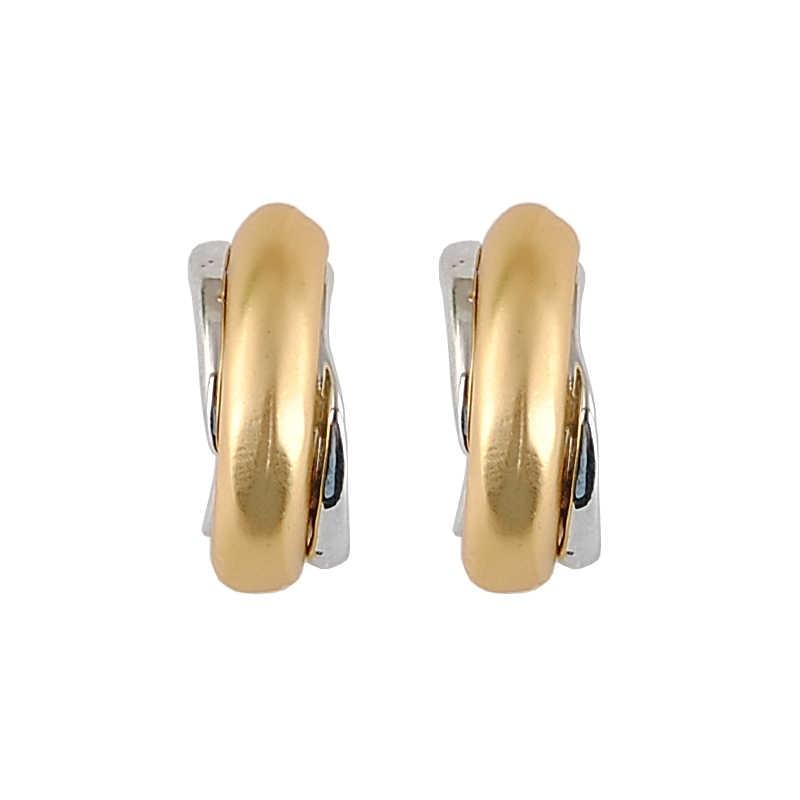 Terbaru Fashion Perhiasan Mawar Emas & Perak Berlapis Kecil Stud Anting-Anting untuk Wanita Warna Ganda Anting-Anting