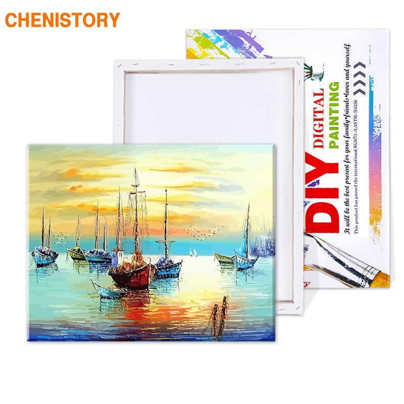 Bezramowe streszczenie żeglarstwo Seascape ręcznie malowany obrazek według numerów ręcznie malowany obraz malarstwo na płótnie do salonu grafika ścienna