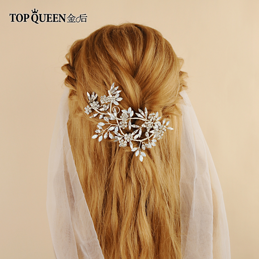 TOPQUEEN HP78 Hair Bridal Jewelry Accessories Headpieces Hair With Diamond And Crystal Silver Bride Hair Jewelry Headdress