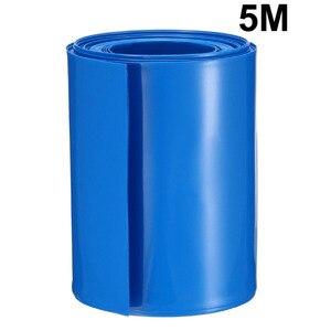 Uxcell Гибкая термоусадочная трубка Изолированная ПВХ 72 мм плоская ширина термоусадочная трубка для 18650 источников питания 5 м длина синий