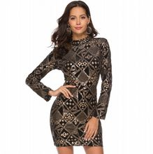 Spring Autumn Sexy Design Sequined Dresses 2019 Mature Style Solid O-neck  long Sleeve Elegant Sheath Overalls Mini Dress. US  19.42   piece Free  Shipping f20a9712df02