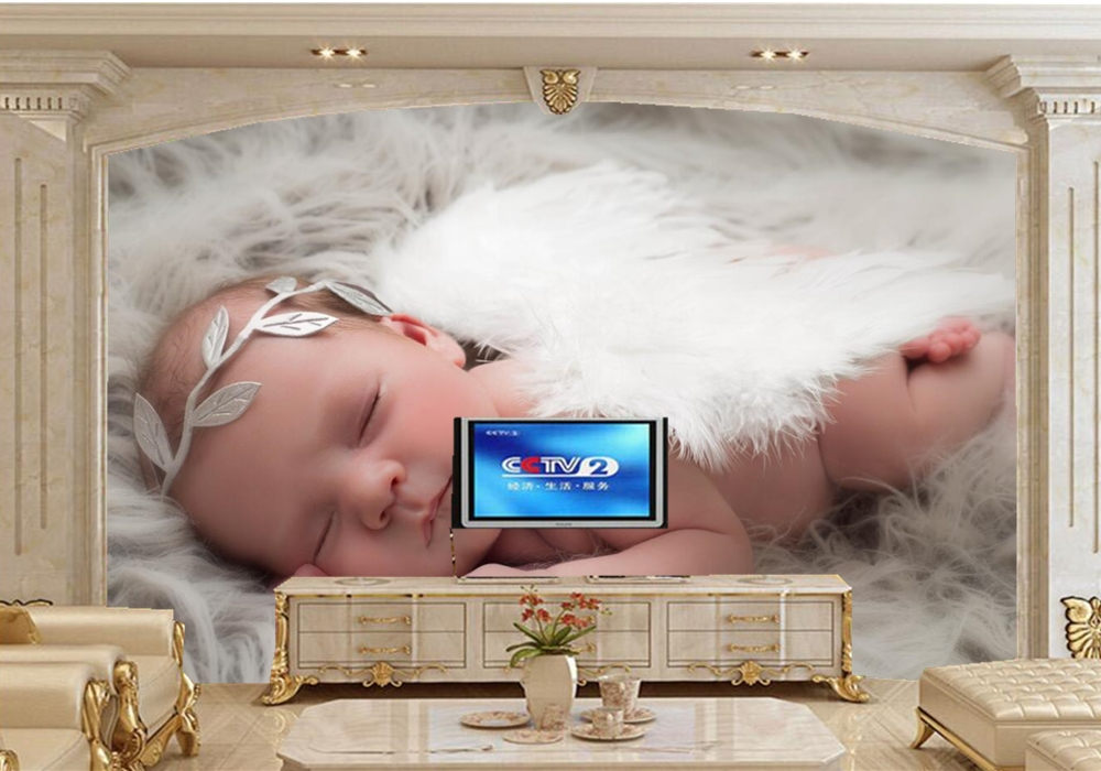 papel de parede Angel Infants Sleep Children Baby photo wallpaper,living room TV sofa wall kids room restaurant lovely wallpaper скатерть angel ya children tsye zb266 88
