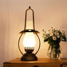 Lámpara de aceite lámpara de mesa sala de estar dormitorio lámpara de mesita de noche decoración creativa Retro Industrial estilo cálido lámparas de calabaza de cobre