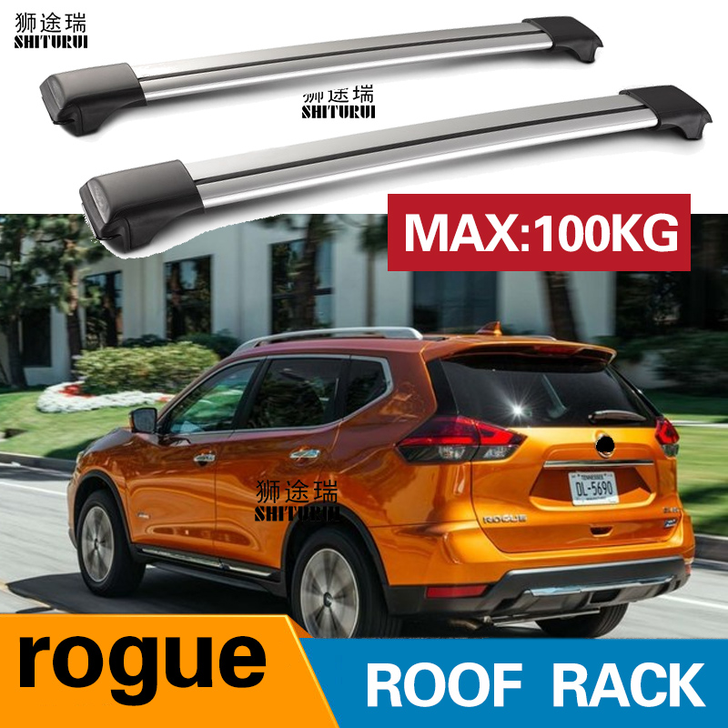 HITURUI 2Pcs Roof bars For NISSAN rogue 2018-2019 SUV Aluminum Alloy Side Bars Cross Rails Roof Rack Luggage CarrierHITURUI 2Pcs Roof bars For NISSAN rogue 2018-2019 SUV Aluminum Alloy Side Bars Cross Rails Roof Rack Luggage Carrier