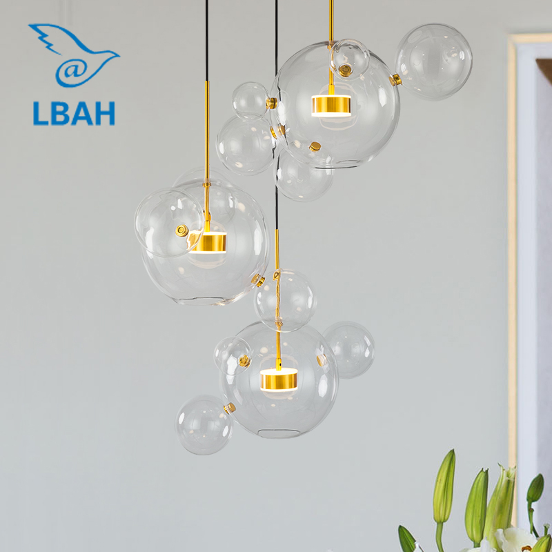 Nordic simple bubble lamp creative  elements post modern LED bedroom living room dining room glass chandelier|Pendant Lights| |  - title=