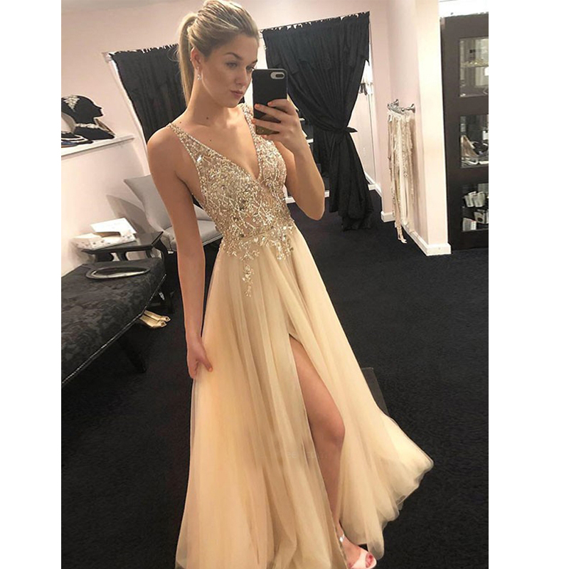 Cutom made 2019 Vestidos de Fiesta Largos V neck Crystal Beadings Tulle Evening Gown with Slit