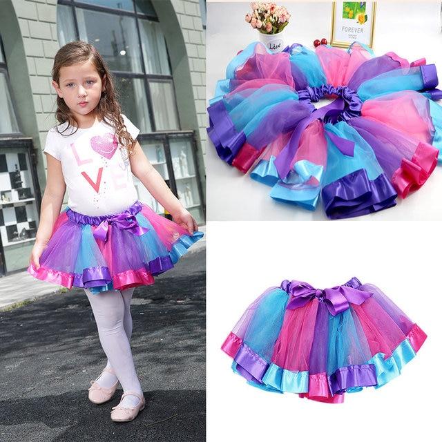 6d6684063 0-8Y Baby Girl Kids Tutu Skirt Soft Tulle Rainbow Pettiskirt Tutus with  Ribbon Children Ballet Dance Ruffle Skirts